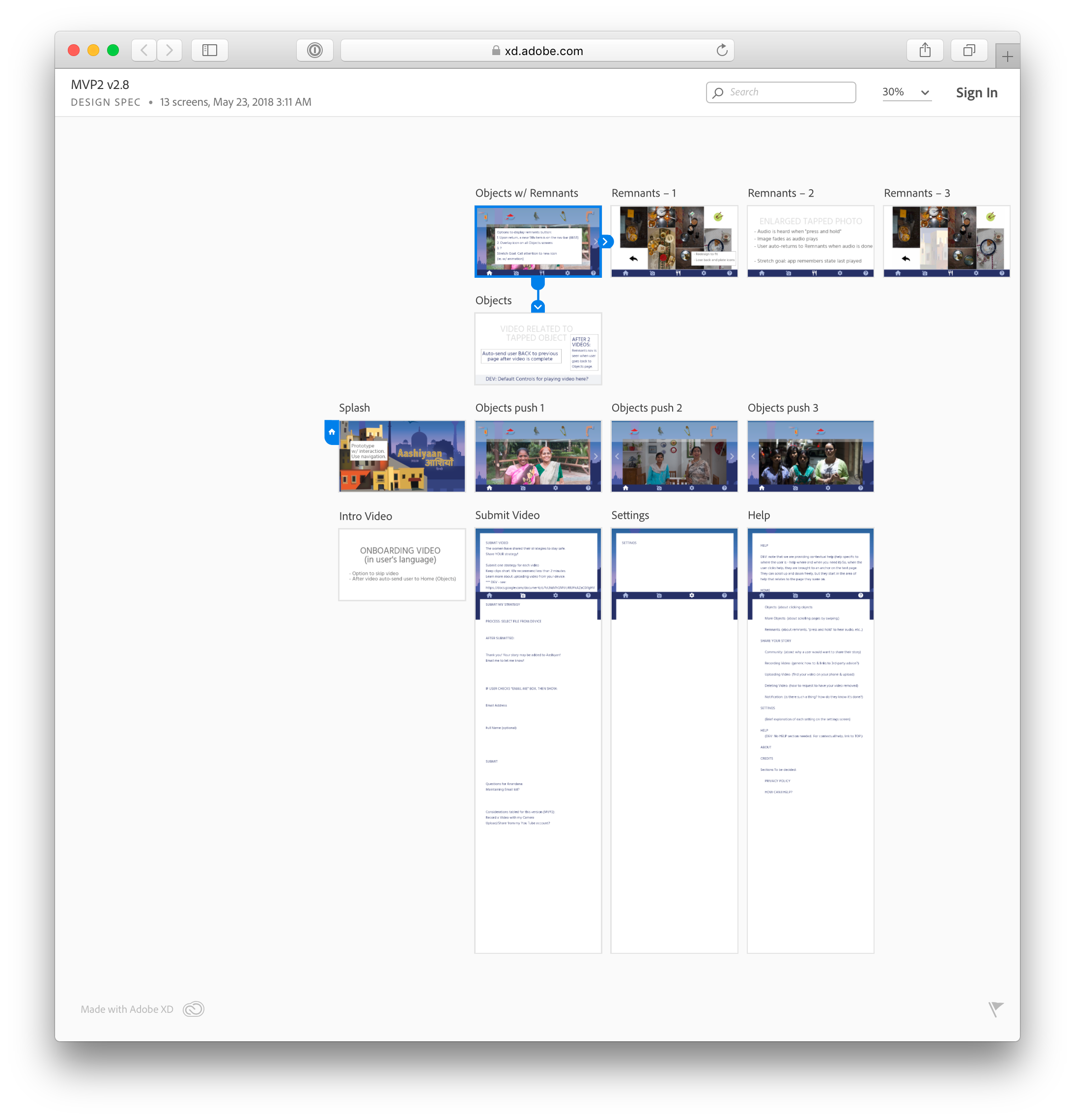 Low fidelity artboards in an Adobe XD document